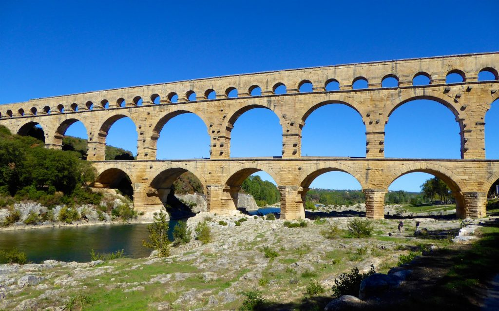 The Roman Aqueduct of Pont du Gard near Uzes Languedoc Roussillon France