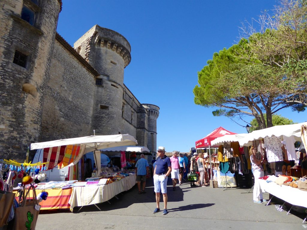 The Gordes market by the chateau in Gordes, Luberon, Provence, France