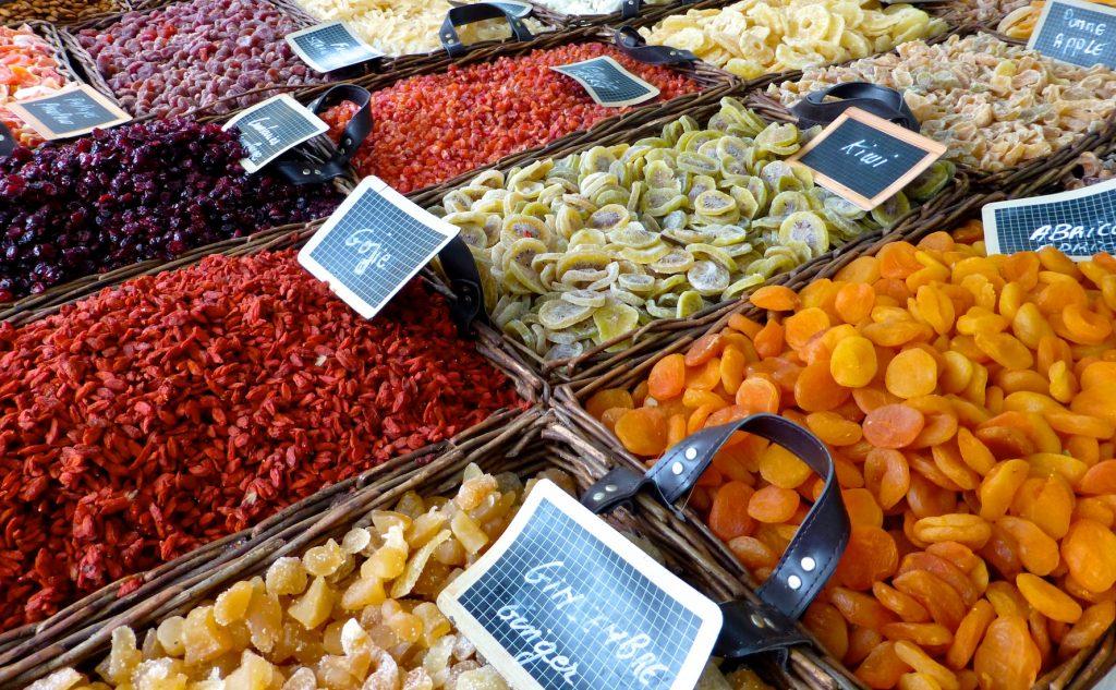 Crystalized fruit for sale in the Uzès market, Provence, France