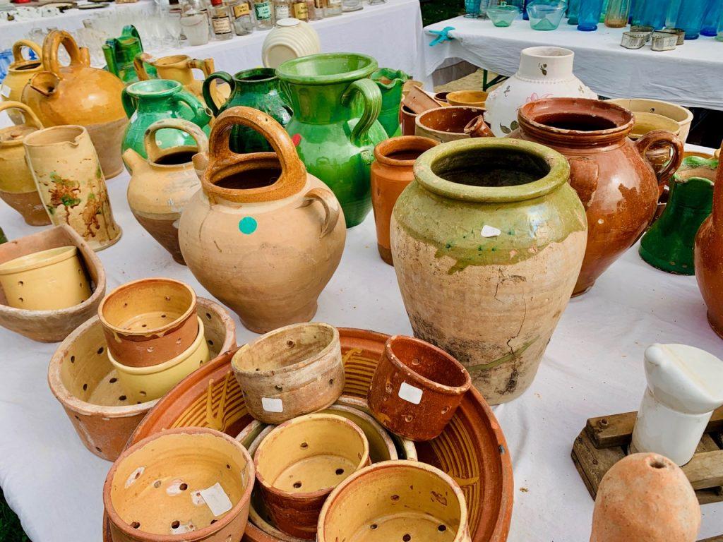 Pottery for Sale at l'Isle sur la Sorgue Antiques market, Luberon, Vaucluse, Provence