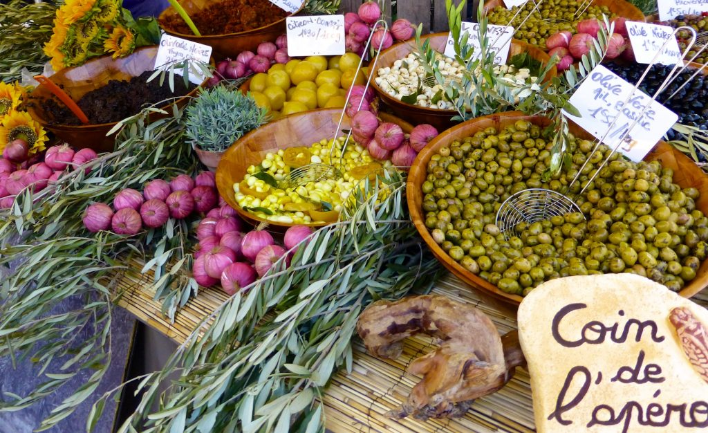 Olives for sale in Saint-Rémy-de-Provence market, Provence, France