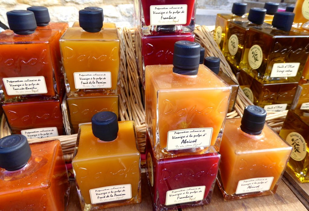 Provencal oils and vinegars in a Luberon Market, Luberon, Provence, France
