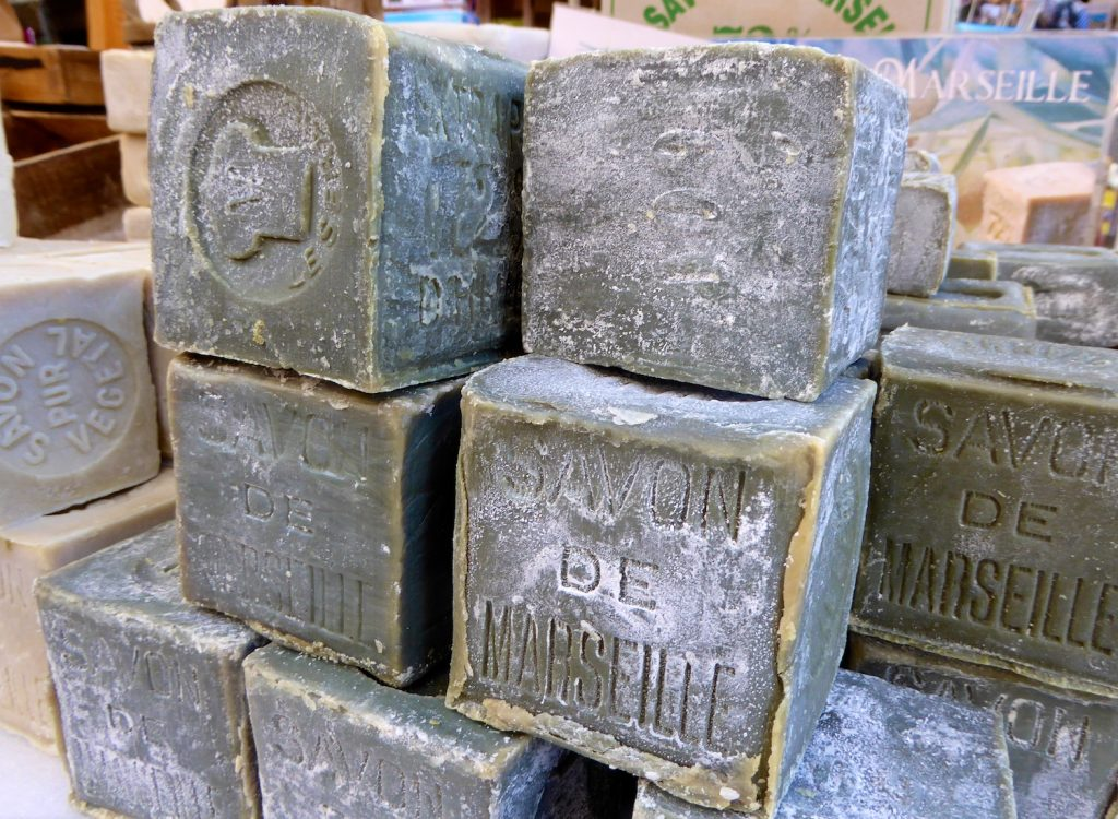 Savon de Marseille at the Lourmarin market, Lourmarin, Luberon, Provence, France