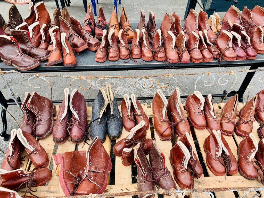 Shoes for Sale at Spring Antiques Fair in l'Isle sur la Sorgue Antiques Fair, Luberon, Vaucluse France