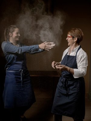 Reine & Nadia Sammut, chefs at L'Auberge la fenière, Lourmarin, Luberon, Vaucluse, Provence, France