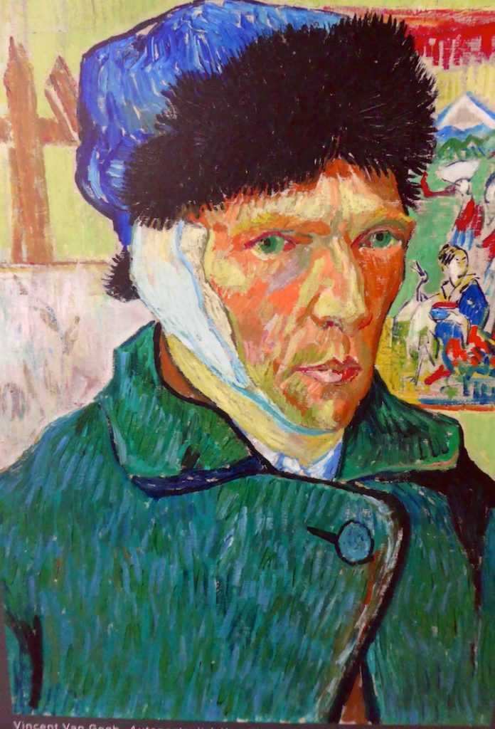 Carrières de Lumières 2019 Van Gogh's La Nuit étoilée, self portrait after he cut off his ear,