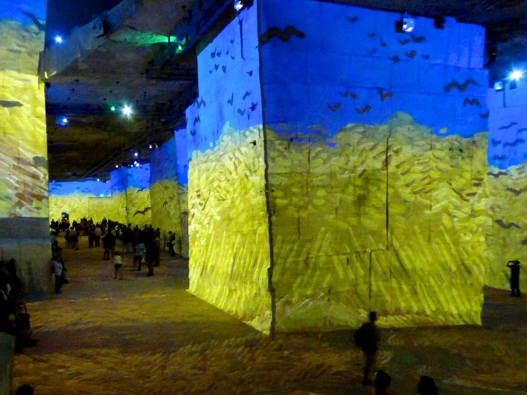 Carrières de Lumières 2019, wheatfield with crows by Van Gogh