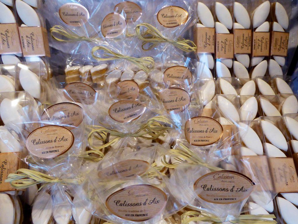 Christmas market Calissons d'Aix stall in Aix-en-Provence