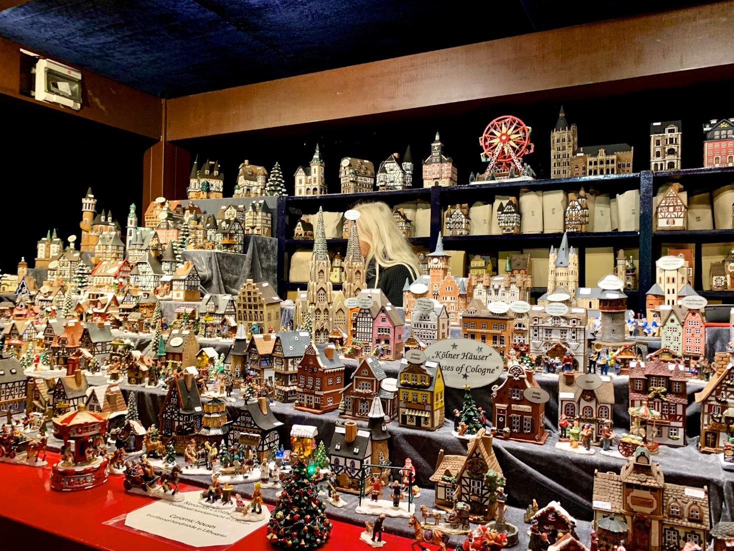 Traditional Christmas villages for sale at the Cologne Christmas market