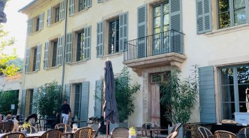 Terrace of luxury spa hotel Domaine de Fontinelle, Lauris, Luberon. Provence, France (near Lourmarin)