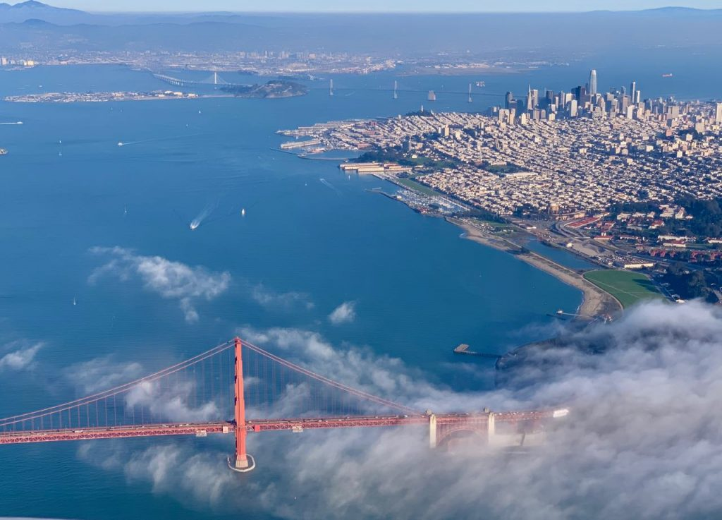 Golden Gate Bridge and San Francisco from the air