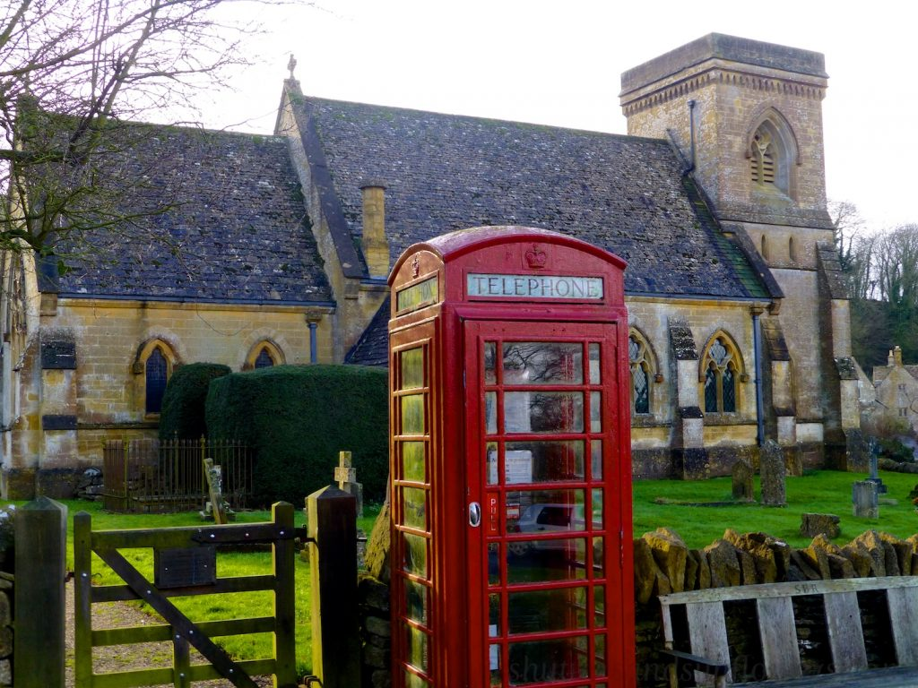 English church and letter box at Snowhill in The Cotswolds, UK