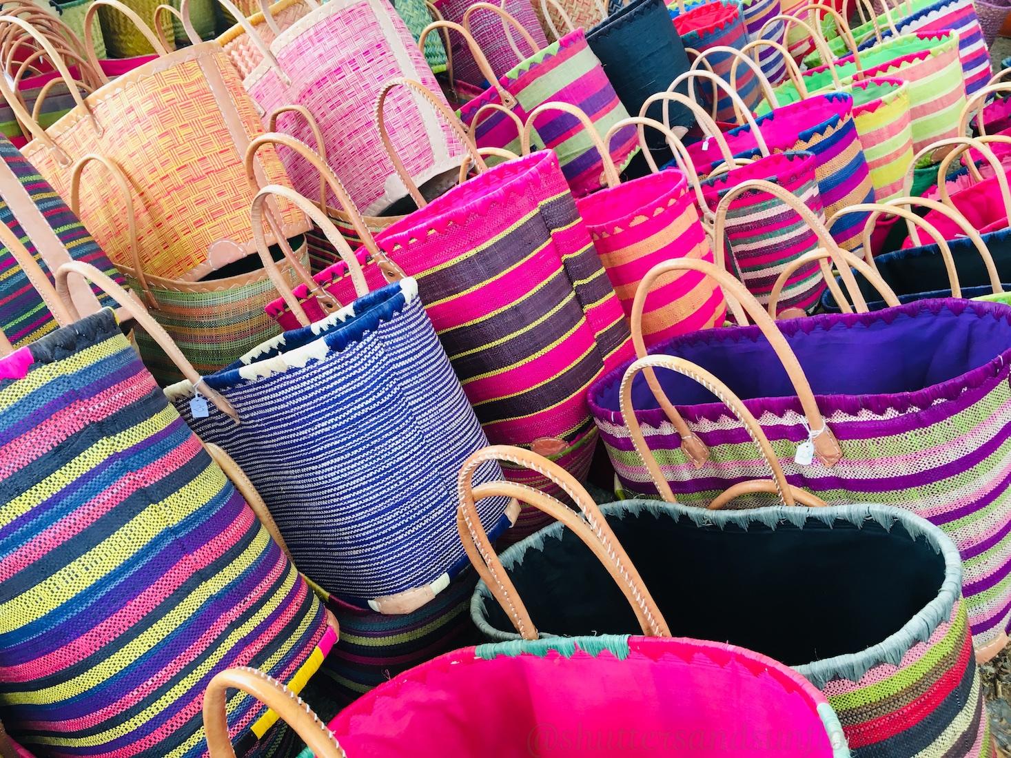 Baskets in the Lourmarin market, Lourmarin,