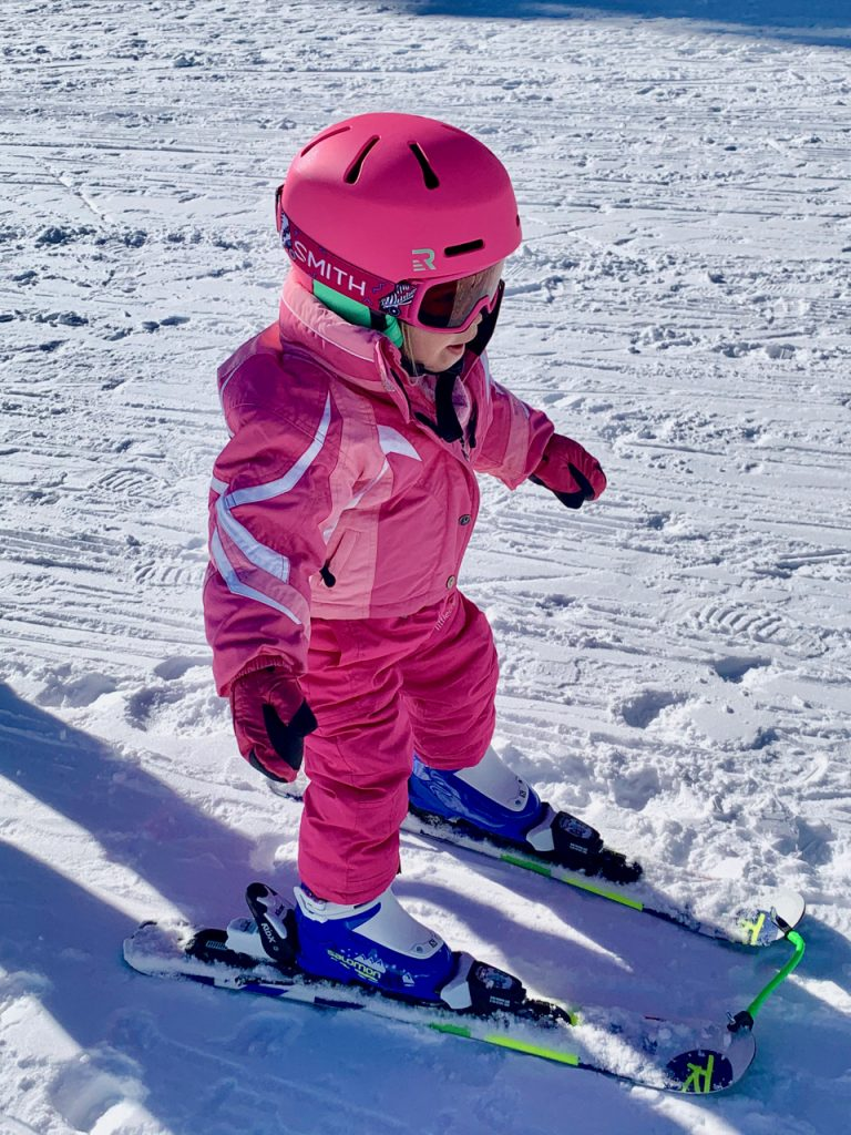 Teaching 2 year old to ski at Northstar California