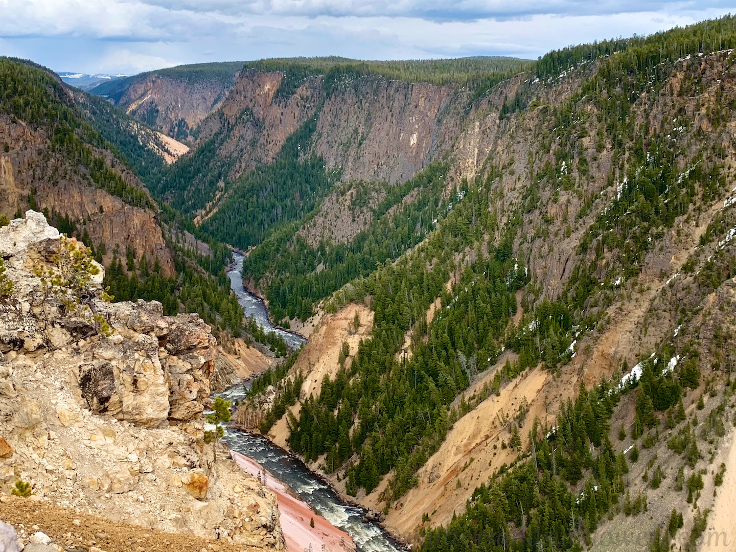 Grand Canyon of Yellowstone from Lower Falls at Yellowstone National Park, USA