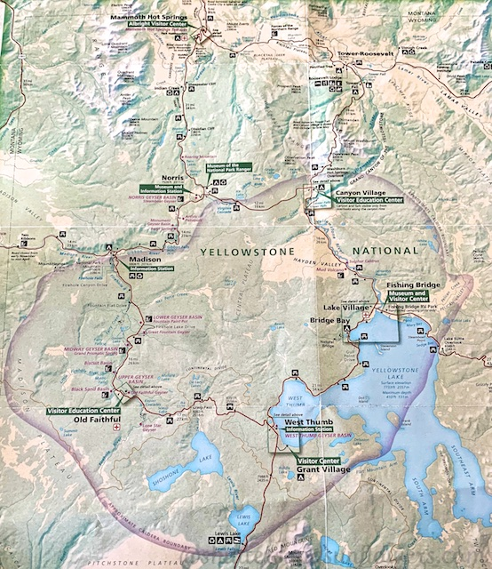 Map of the lower loop at Yellowstone National Park