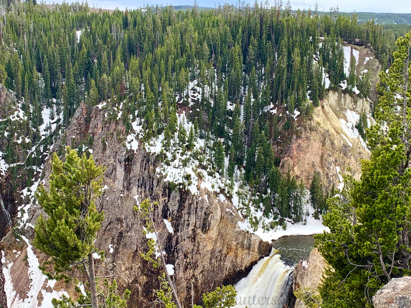 Top of falls of Grand Canyon of Yellowstone National Park, USA