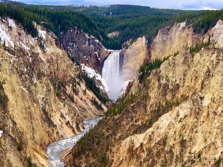 Waterfall at Grand Canyon of Yellowstone National Park, USA