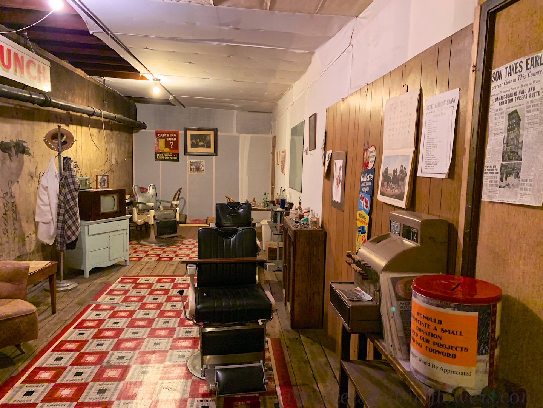 Butte barber's shop 1924-1968 in a basement in Butte, Montana, USA