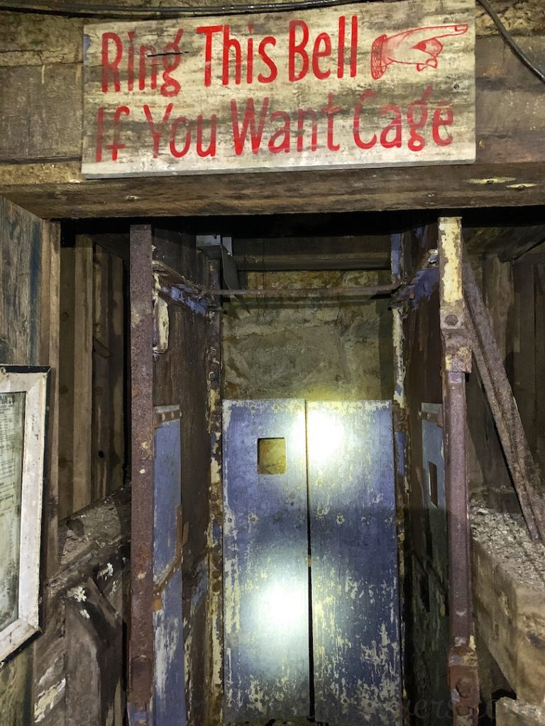 Cage elevator inside the Orphan Mine in Butte, Montana, USA