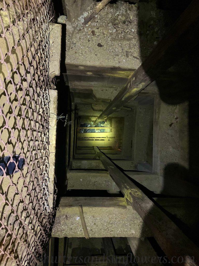 Elevator shaft inside the Orphan Mine in Butte, Montana, USA