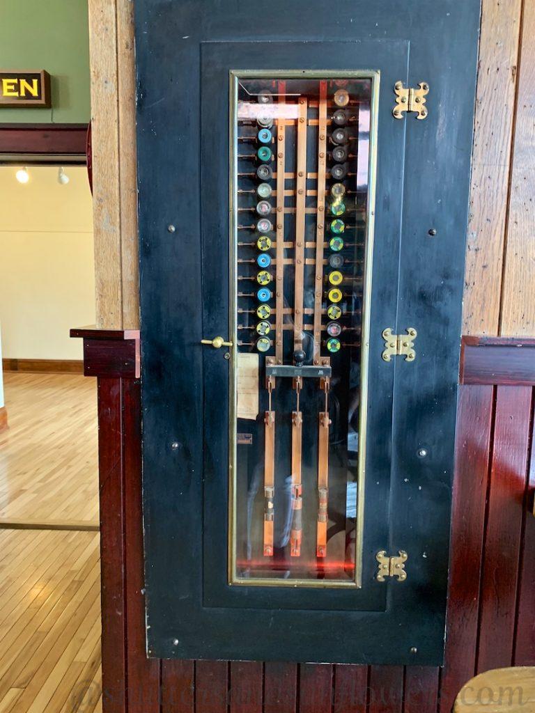 Original electrical fuse box in Anaconda Brewery