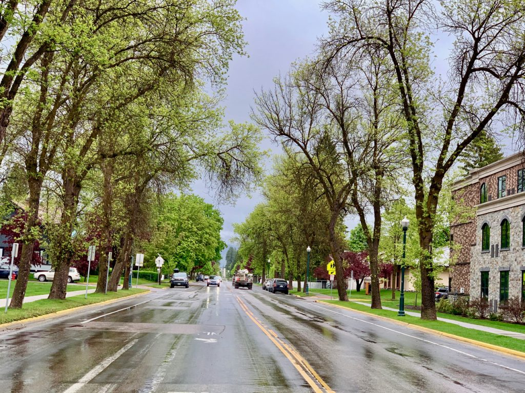Streets in Whitefish, Montana in the rain